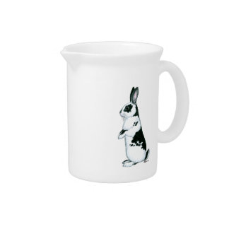 Rabbit:  Black and White Pitcher