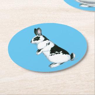 Rabbit:  Black and White Round Paper Coaster