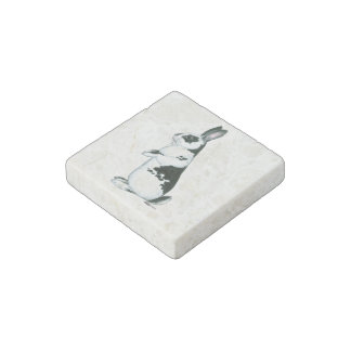 Rabbit:  Black and White Stone Magnet