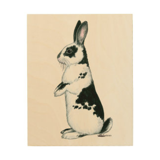 Rabbit:  Black and White Wood Wall Decor