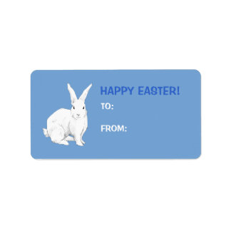 Rabbit blue Easter Gift Tag Label Address Label