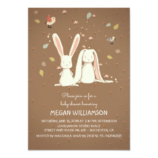 rabbit bunnies couple woodland baby shower 13 cm x 18 cm invitation card