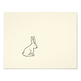 Rabbit bunny fun simple graphic symbol logo art 11 cm x 14 cm invitation card