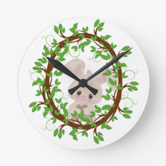 Rabbit , bunny, WOODLAND-CRITTERS Round Clock