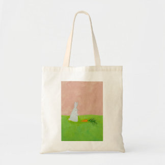 Rabbit carrot fresh modern art colorful painting canvas bags
