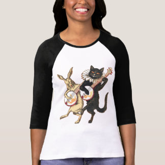 Rabbit & Cat Ladies 3/4 Sleeve Raglan T-Shirt