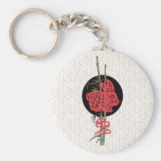 Rabbit (chinese zodiac) basic round button key ring