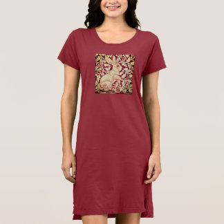 Rabbit Design Red Christmas Dress Casual Comfy
