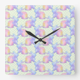 Rabbit Easter Square Wall Clock