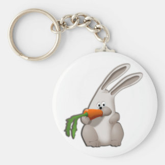 Rabbit Eating A Carrot Basic Round Button Key Ring