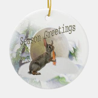 Rabbit eating carrot season greetings ornaments