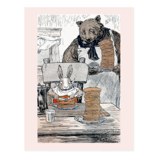 Rabbit Eating Pancake Breakfast Postcard