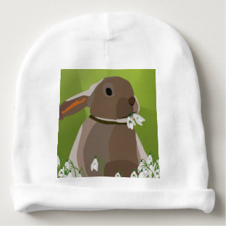 Rabbit eating snowdrops baby beanie