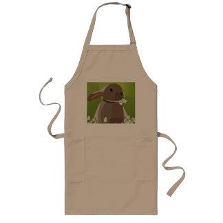Rabbit eating snowdrops long apron
