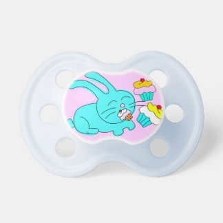 Rabbit Eats Cupcake Pacifiers Blue Pink