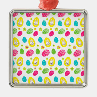 Rabbit & Eggs Easter bright pattern Silver-Colored Square Decoration