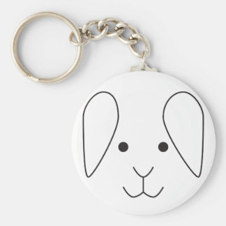 Rabbit Face Basic Round Button Key Ring