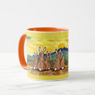 Rabbit Family Sunrise Bright Designer Mug