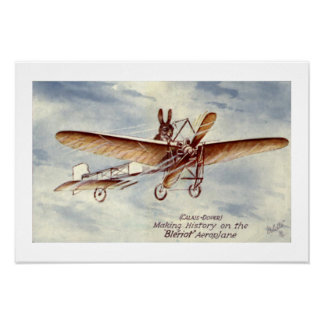Rabbit Flying a Plane Poster