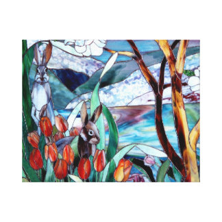 Rabbit Garden Stained Glass on Wrapped Canvas Art