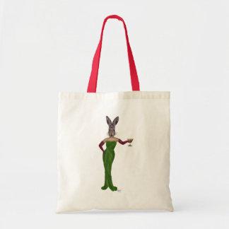 Rabbit Green Dress Budget Tote Bag
