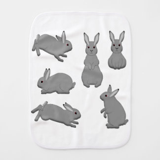 Rabbit grey burp cloth