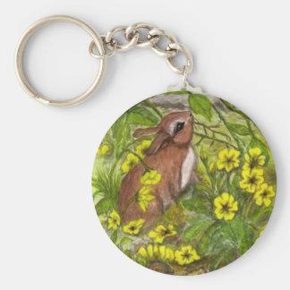 Rabbit - Happy Easter Basic Round Button Key Ring