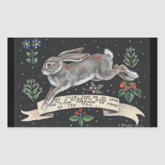 Rabbit Hare Inspirational Sticker Black Floral