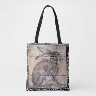 Rabbit Hare Jackrabbit Tile Look Tote Bag