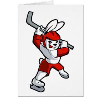 rabbit hockey cartoon card