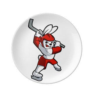 rabbit hockey cartoon porcelain plate