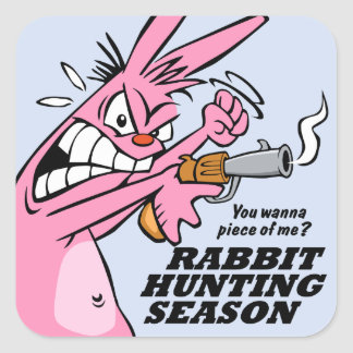 Rabbit Hunting Season Square Sticker