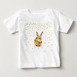 Rabbit in a Shower Golden Polka Dots Baby T-Shirt