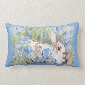 Rabbit in Blue Dutch Irises Lumbar Cushion