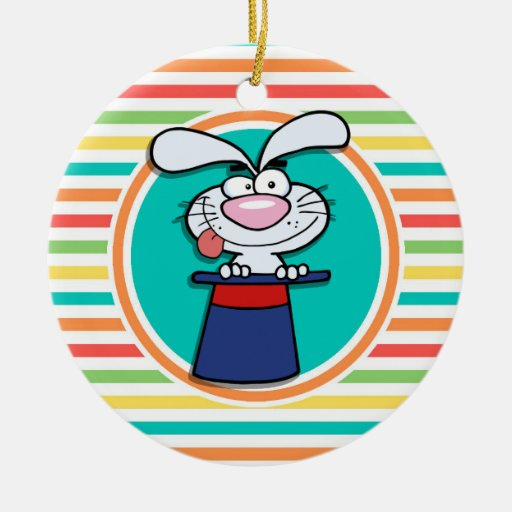 Rabbit in Hat on Bright Rainbow Stripes Christmas Tree Ornament