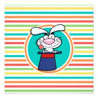 Rabbit in Hat on Bright Rainbow Stripes Invitation