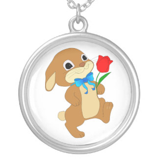 RABBIT IN LOVE SILVER PLATED NECKLACE