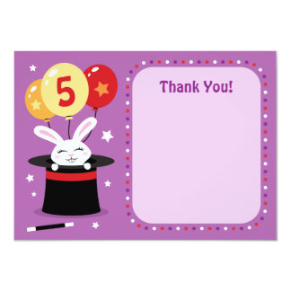 Rabbit in magicians hat birthday party thank you card