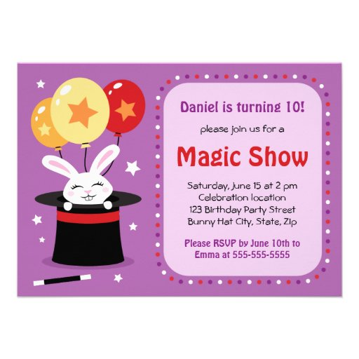 Rabbit in magicians hat magic show birthday party custom announcements