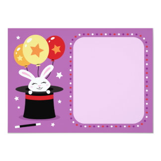 Rabbit in magicians hat magic show flat note card personalized announcement