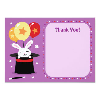 Rabbit in magicians hat magic show party thank you personalized announcement