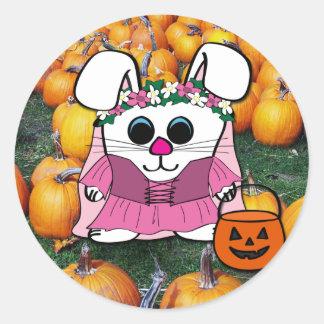 Rabbit in Medieval Dress in Pumpkin Patch Round Sticker