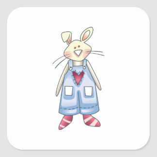 RABBIT IN OVERALLS SQUARE STICKER