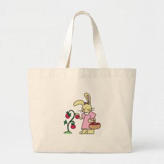 Rabbit in Tomato Garden Jumbo Tote Bag