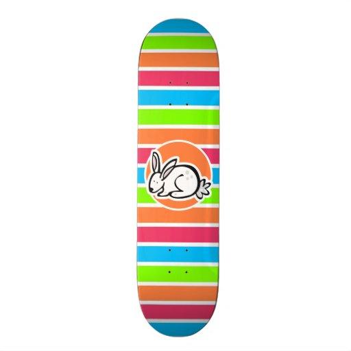 Rabbit; Neon Orange Pink Blue Green Stripes Custom Skate Board