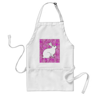 Rabbit on a bed of spring flowers apron