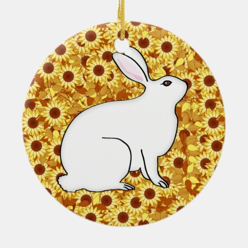 Rabbit on a bed of spring flowers christmas ornament