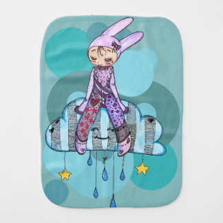 Rabbit on clouds burp cloth