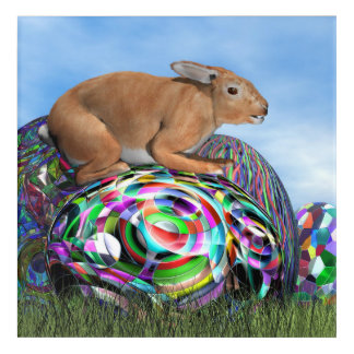 Rabbit on its colorful egg for Easter - 3D render Acrylic Print