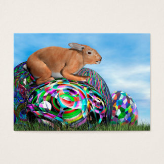 Rabbit on its colorful egg for Easter - 3D render Business Card